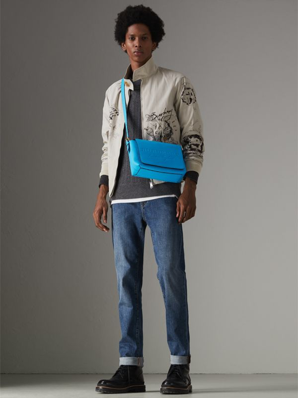 Small Embossed Neon Leather Messenger Bag in Blue | Burberry - cell image 3