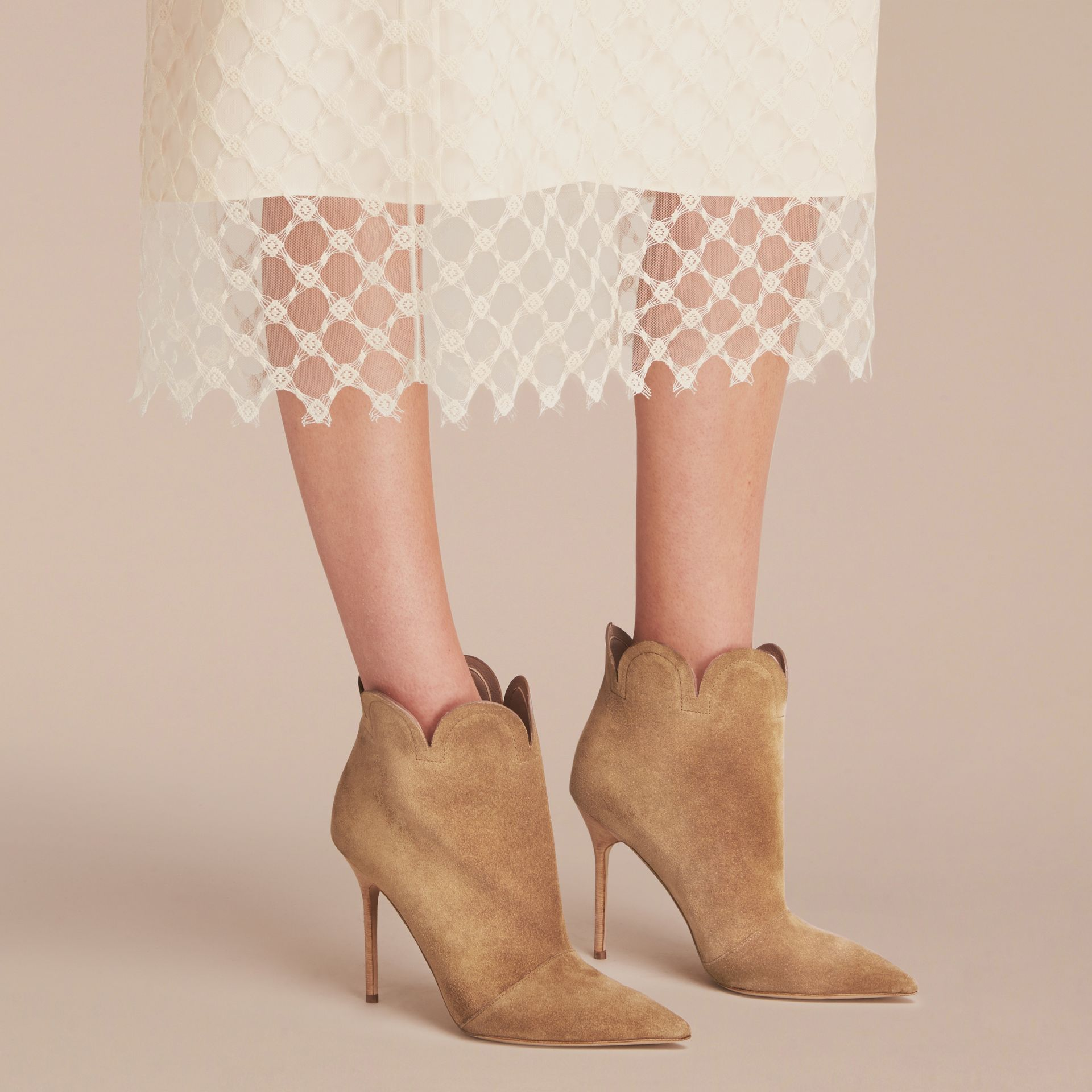 Scalloped Suede Ankle Boots in Sandstone - Women | Burberry - gallery image 3