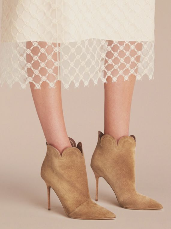 Scalloped Suede Ankle Boots in Sandstone - Women | Burberry - cell image 2