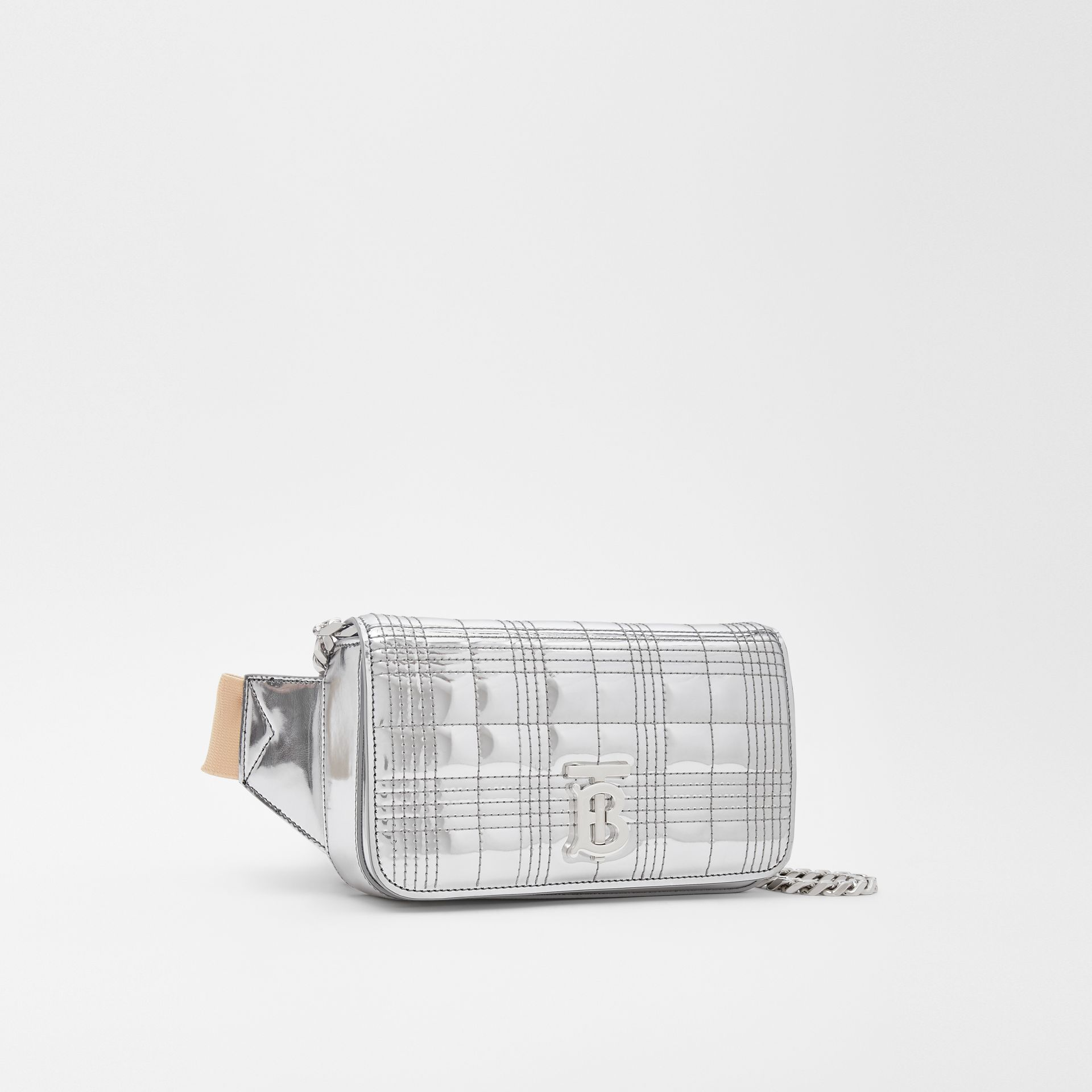 Quilted Metallic Lola Bum Bag with Chain Strap in Silver | Burberry - gallery image 7