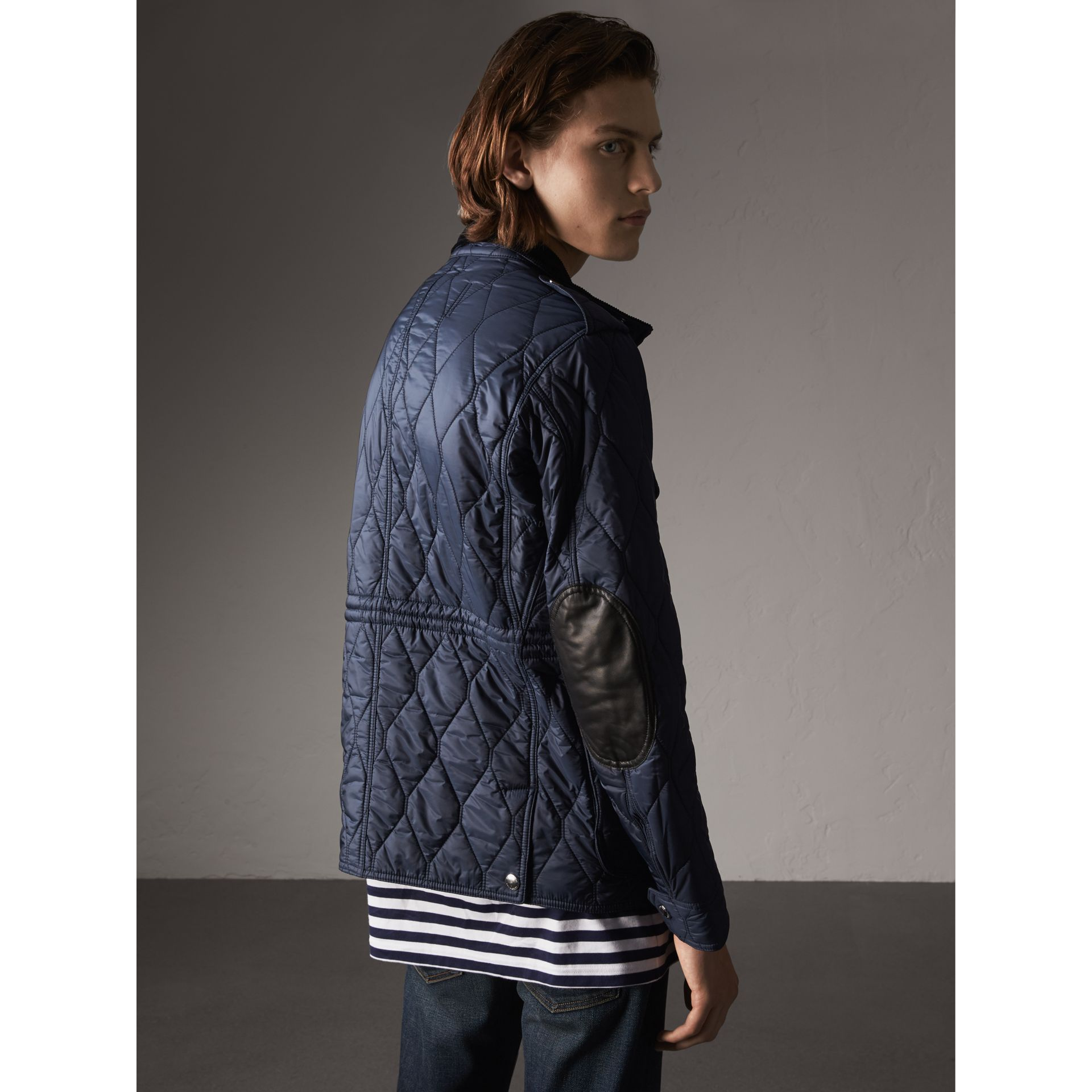 Diamond Quilted Field Jacket in Navy - Men | Burberry - gallery image 3