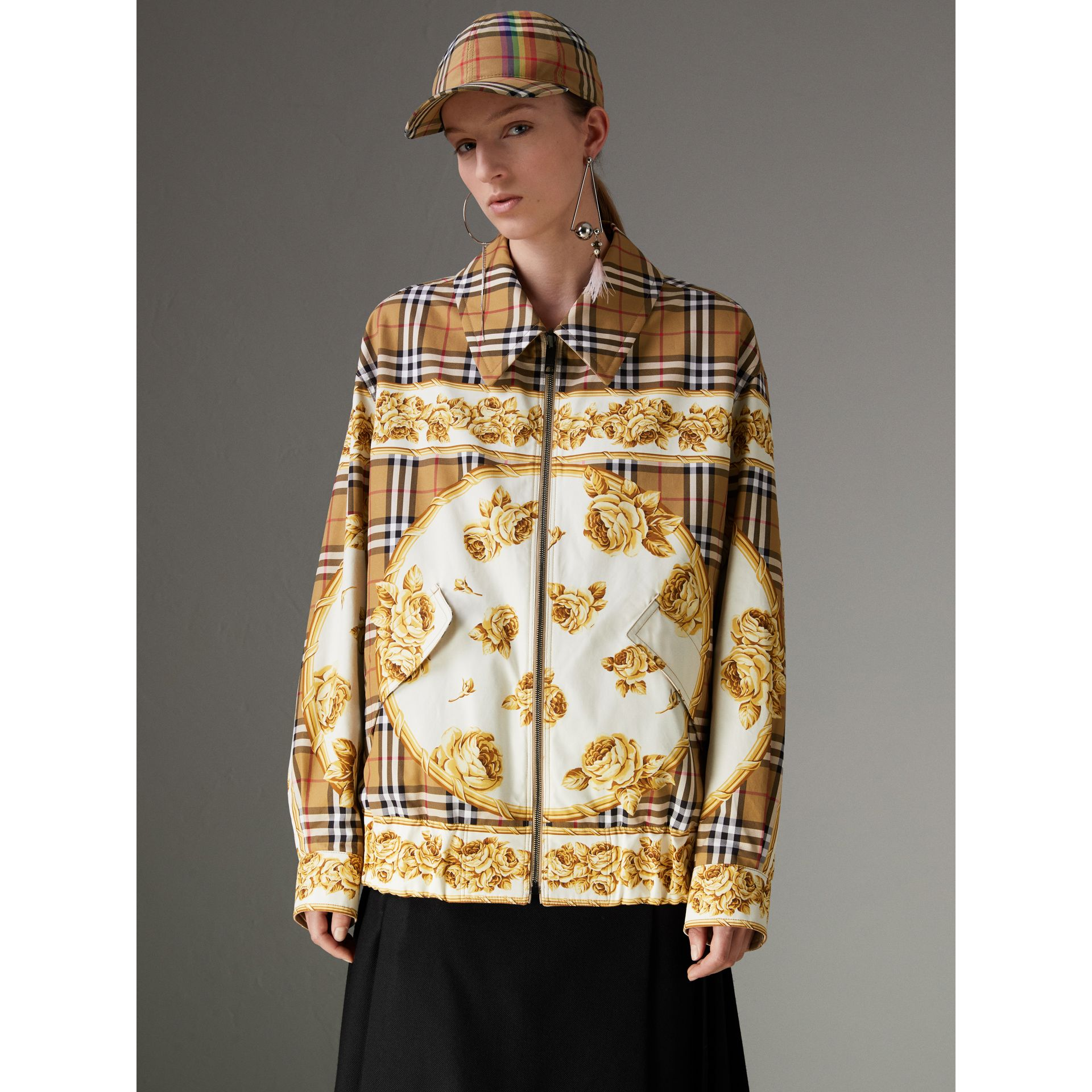 Reversible Archive Scarf Print Harrington Jacket in Antique Yellow - Women | Burberry United Kingdom - gallery image 4