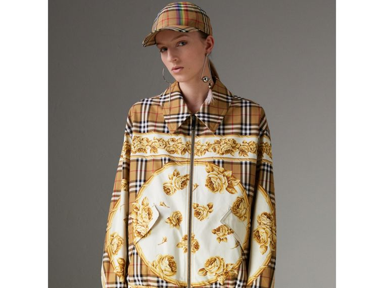 Reversible Archive Scarf Print Harrington Jacket in Antique Yellow - Women | Burberry - cell image 4