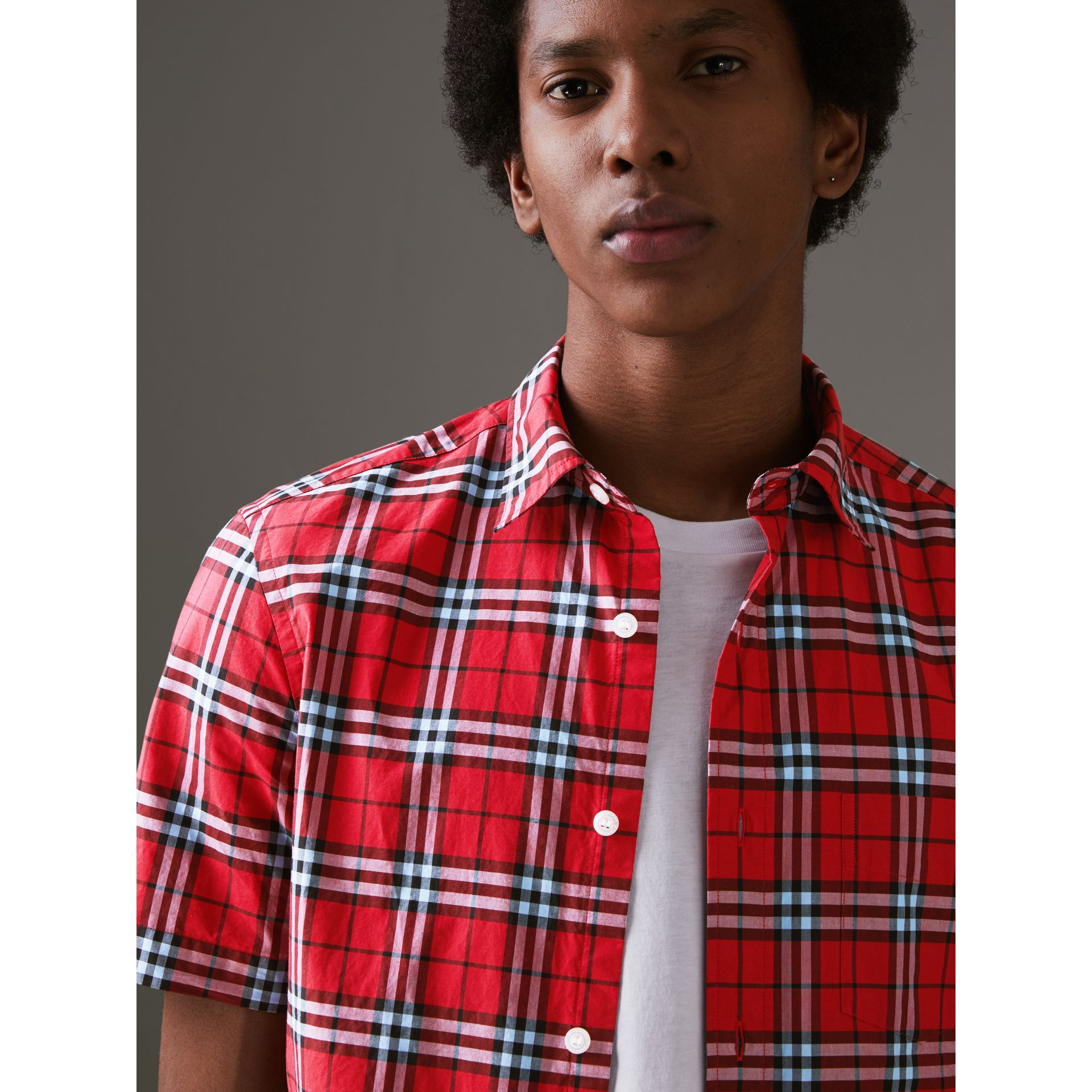 Short-sleeve Check Cotton Shirt in Bright Red - Men | Burberry - gallery image 1