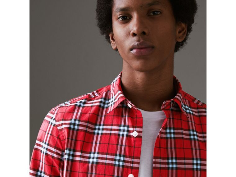 Short-sleeve Check Cotton Shirt in Bright Red - Men | Burberry - cell image 1