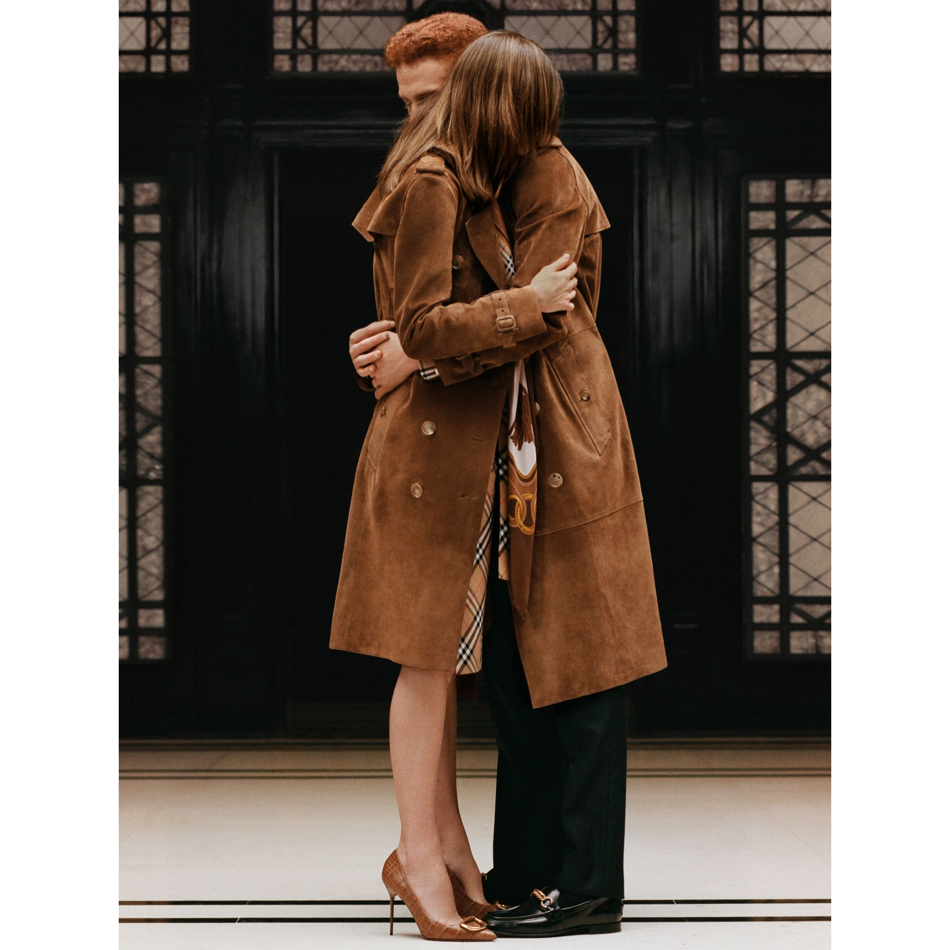 Suede Trench Coat in Sepia Brown - Women | Burberry - gallery image 1