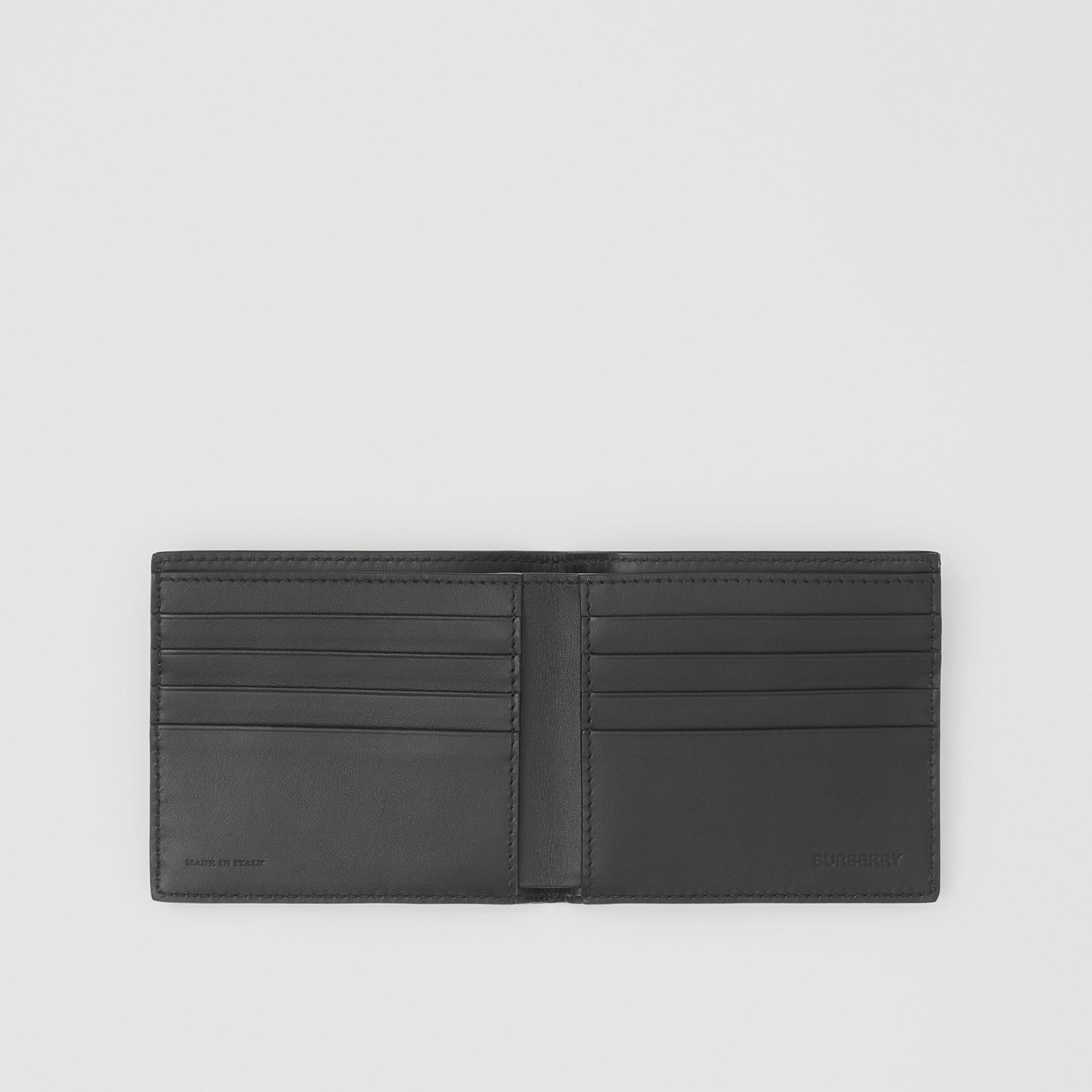 Logo Print Leather International Bifold Wallet in Black | Burberry Canada - gallery image 2