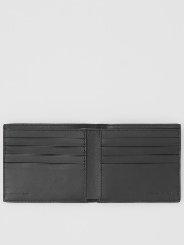 Logo Print Leather International Bifold Wallet in Black | Burberry Australia - cell image 2