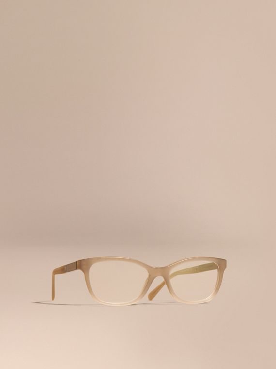 Check Detail Oval Optical Frames Chino Grey
