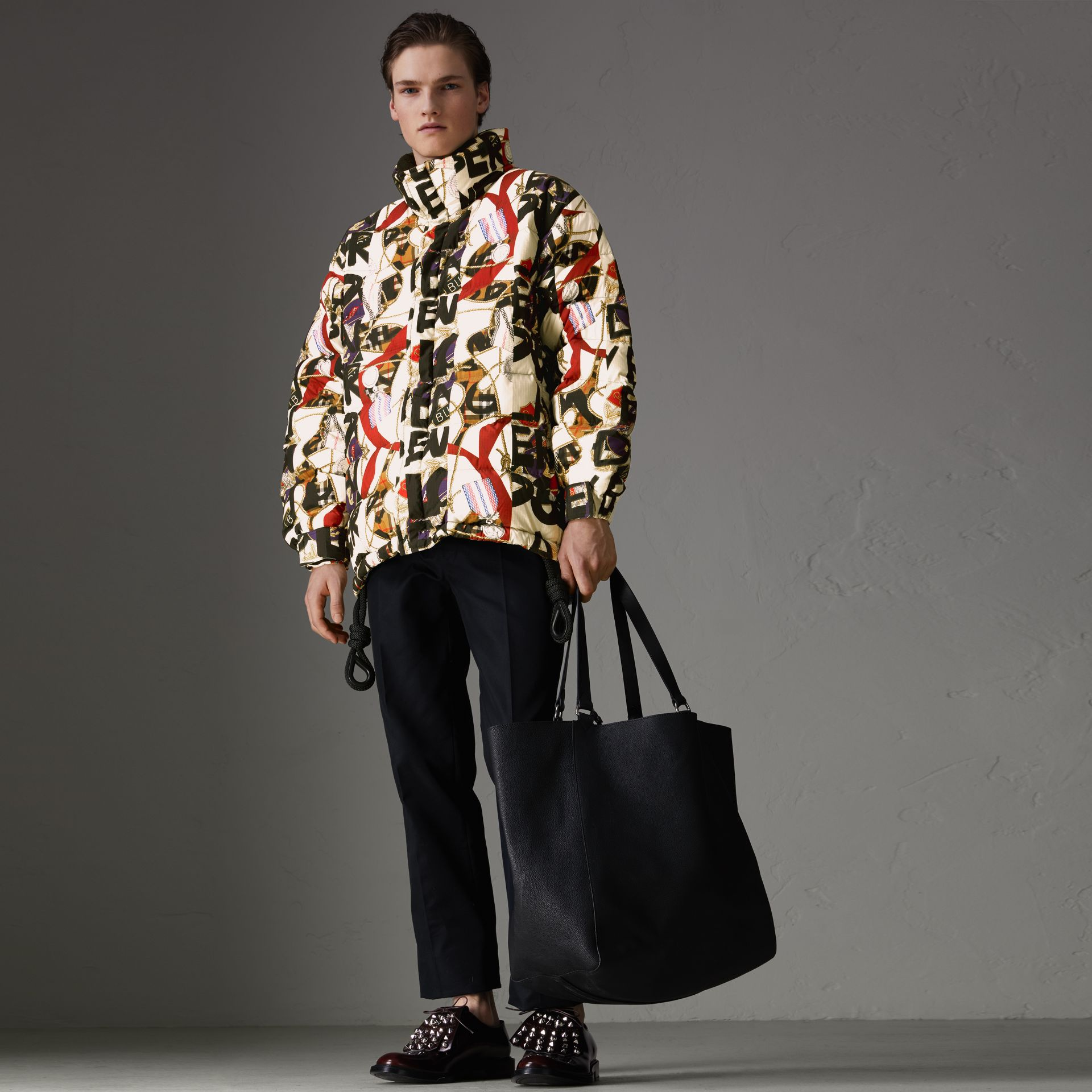 Graffiti Archive Scarf Print Down-filled Puffer Jacket in Stone - Men | Burberry - gallery image 0