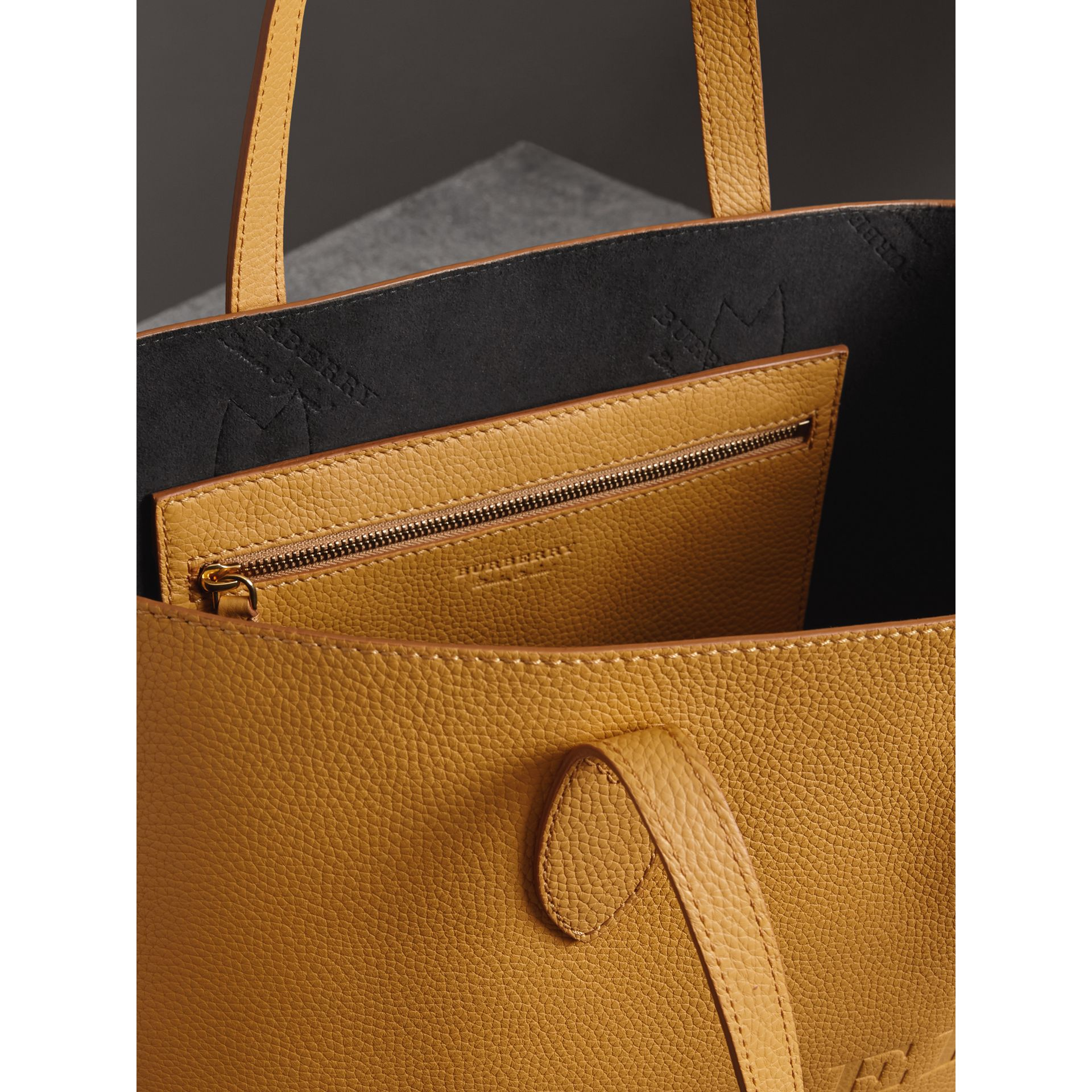 Embossed Leather Tote in Ochre Yellow | Burberry - gallery image 5