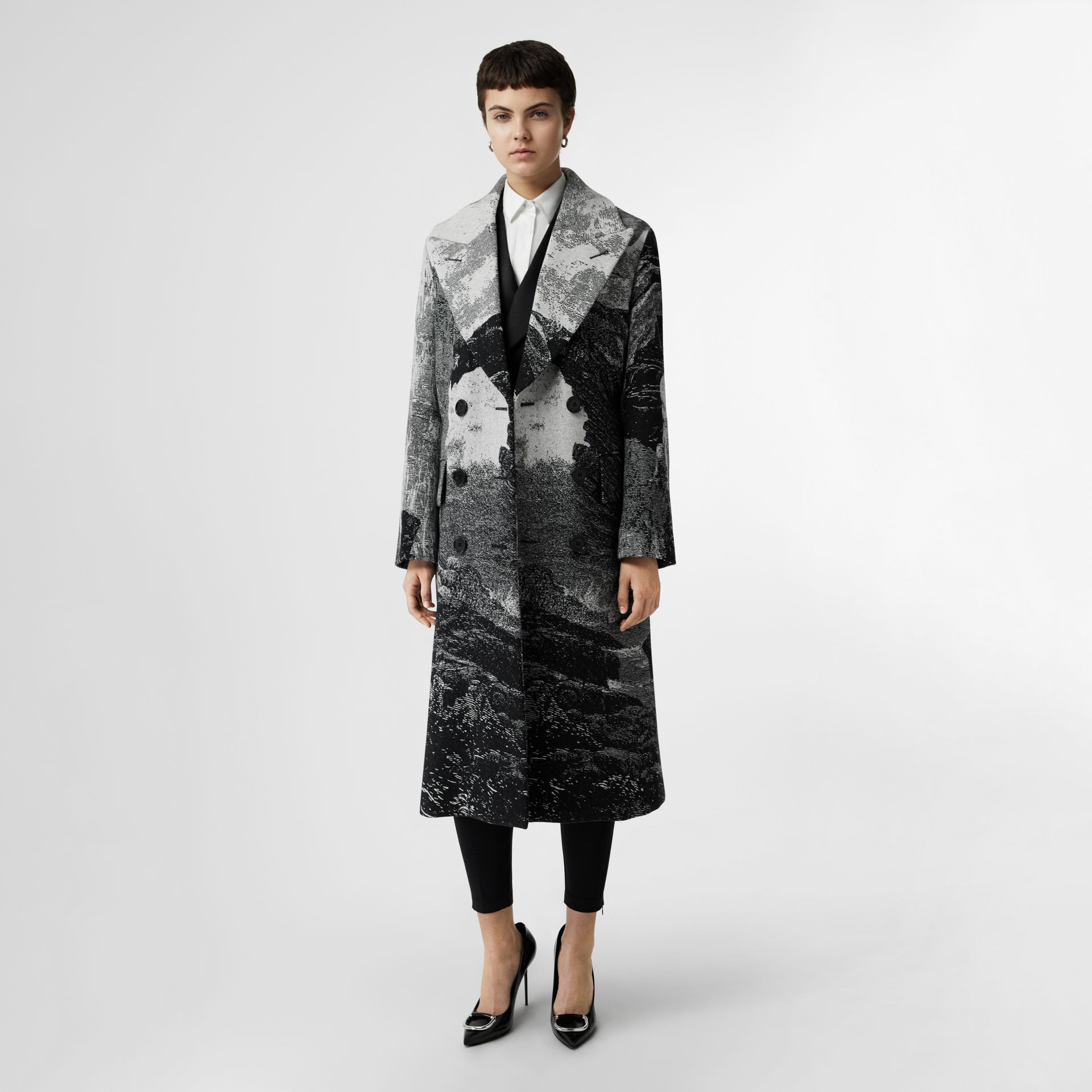 Dreamscape Wool Jacquard Double-breasted Coat in Natural White - Women | Burberry - gallery image 0