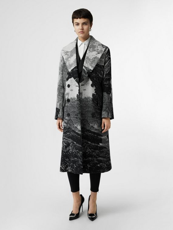 Dreamscape Wool Jacquard Double-breasted Coat in Natural White
