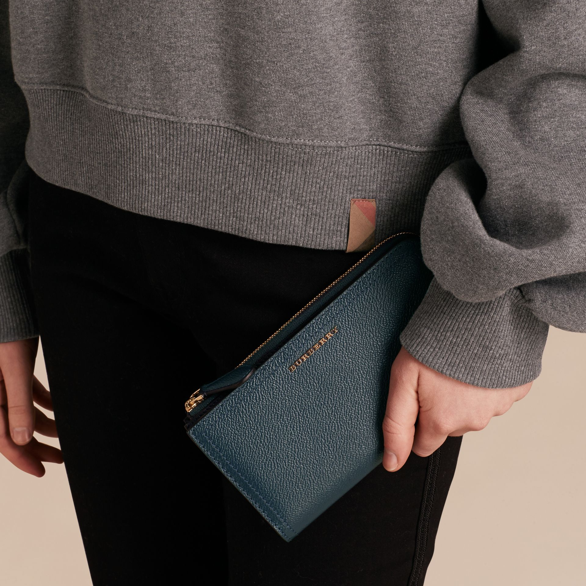 Grainy Leather Ziparound Wallet in Blue Carbon - Women | Burberry Canada - gallery image 3
