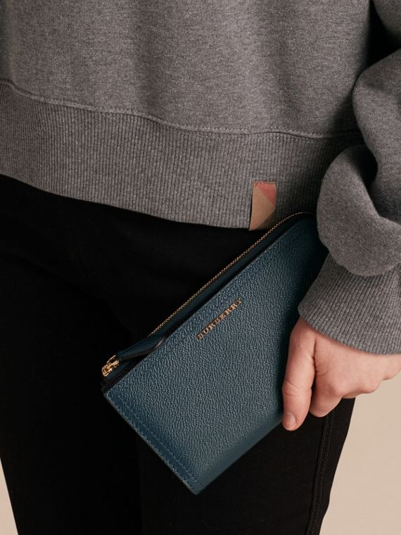 Grainy Leather Ziparound Wallet in Blue Carbon - Women | Burberry - cell image 2