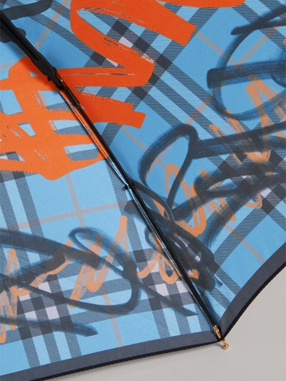 Graffiti Check Folding Umbrella in Light Azure | Burberry - cell image 2