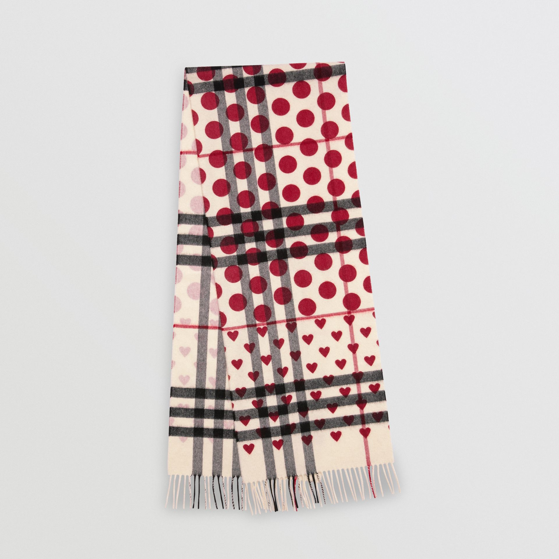 The Classic Heart Check Cashmere Scarf in Windsor Red | Burberry United Kingdom - gallery image 0