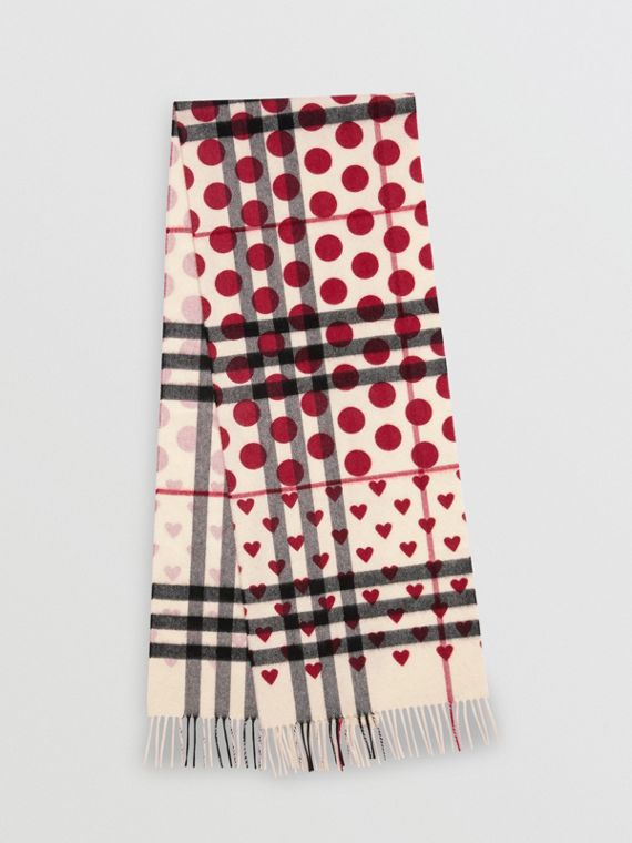 The Classic Heart Check Cashmere Scarf in Windsor Red