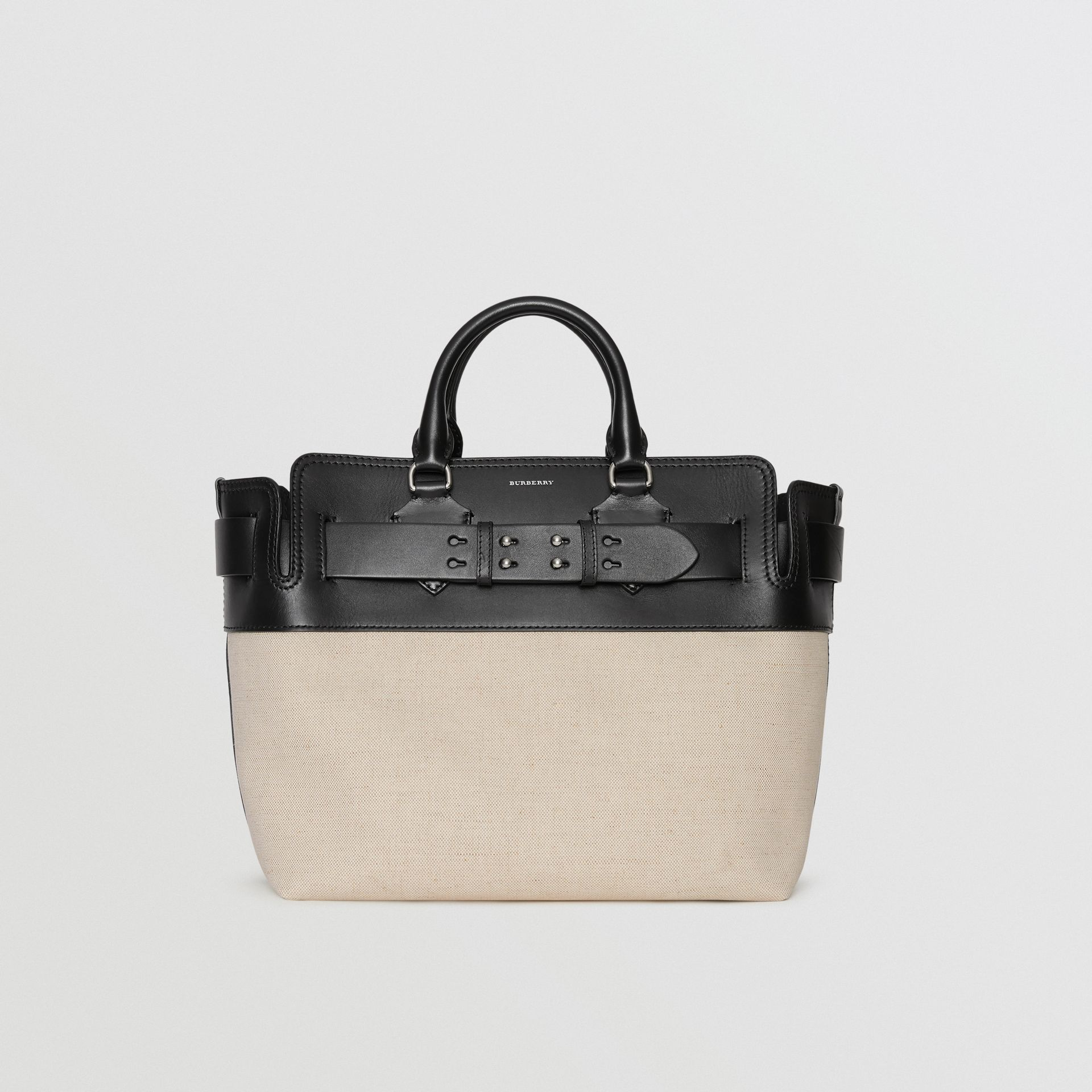 The Medium Canvas and Leather Belt Bag in Black/stone - Women | Burberry United Kingdom - gallery image 0