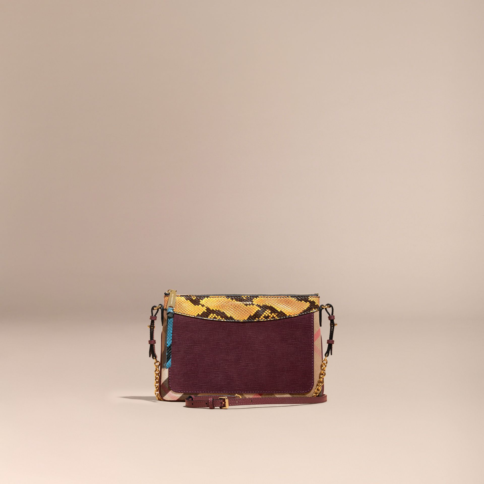 Leather, House Check and Snakeskin Clutch Bag Elderberry - gallery image 9