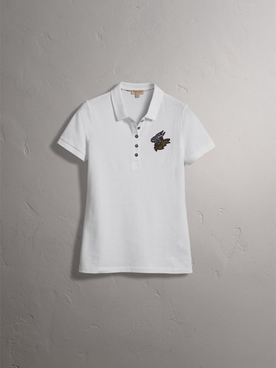 Beasts Motif Stretch Cotton Piqué Polo Shirt in White - Women | Burberry - cell image 3