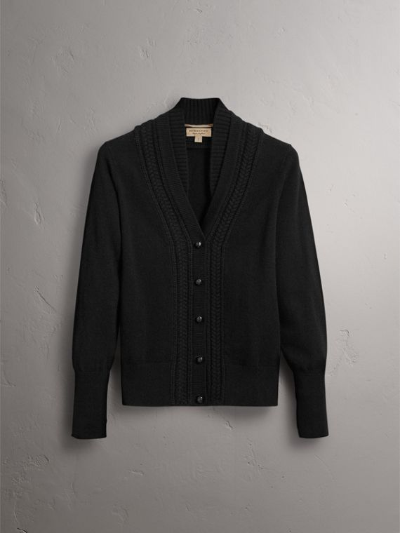 Cable Knit Detail Cashmere Cardigan in Black - Women | Burberry - cell image 3