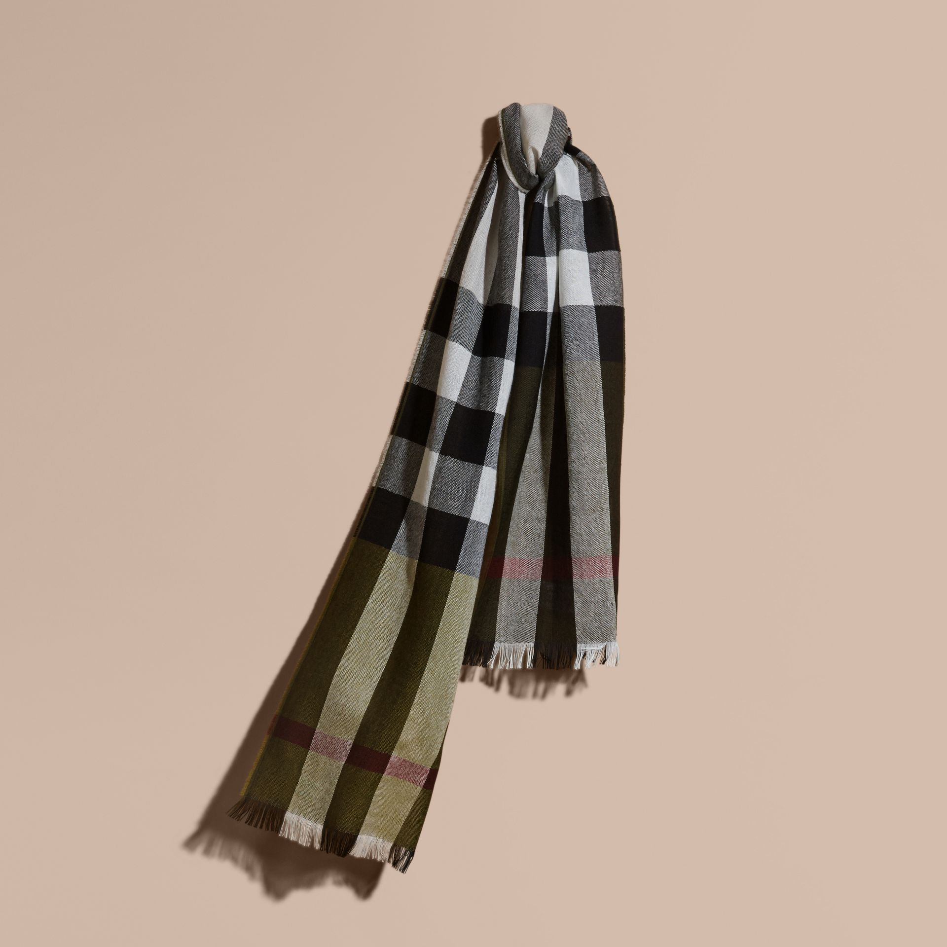 Olive Check Merino Wool Scarf - gallery image 1