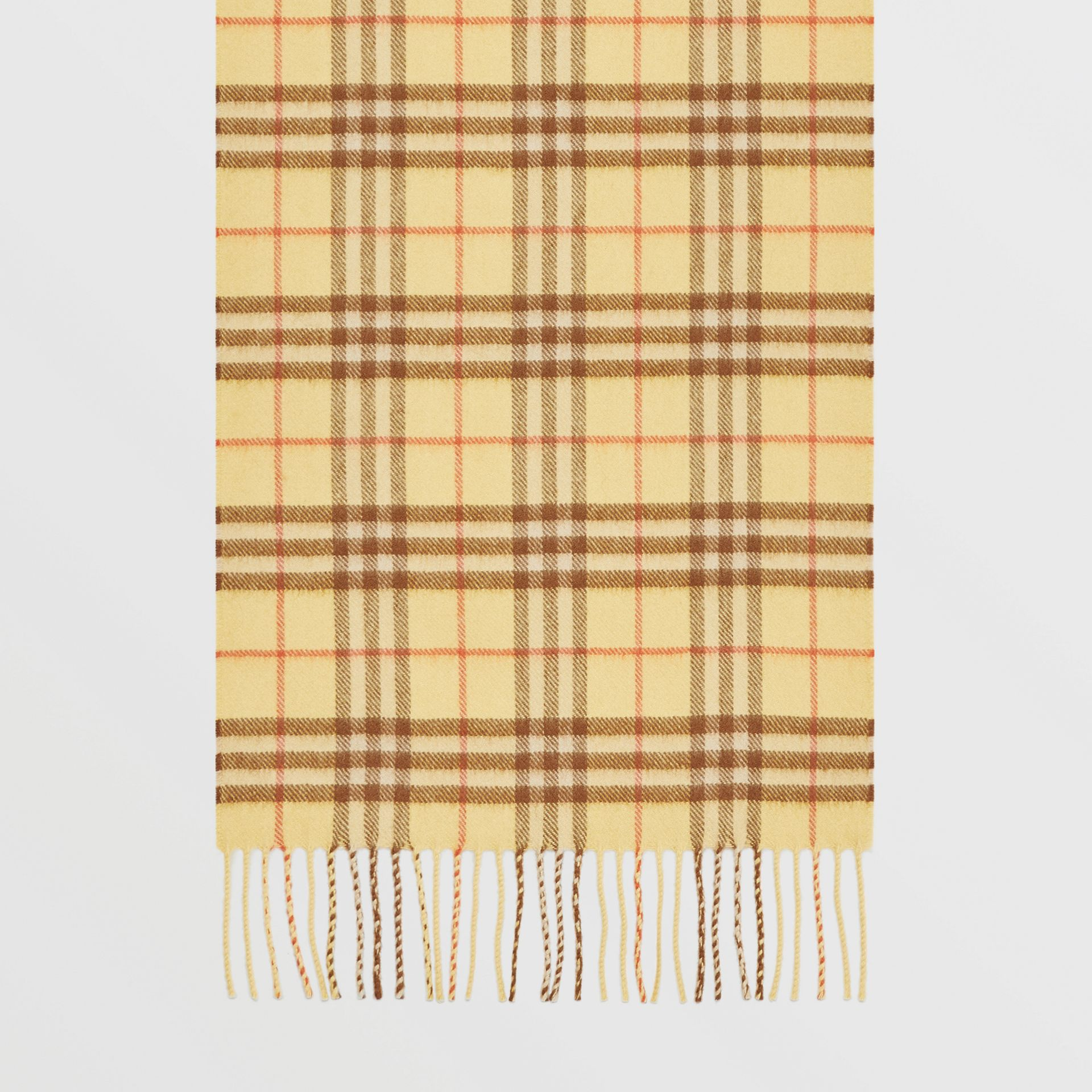 The Classic Vintage Check Cashmere Scarf in Pale Primrose | Burberry - gallery image 2