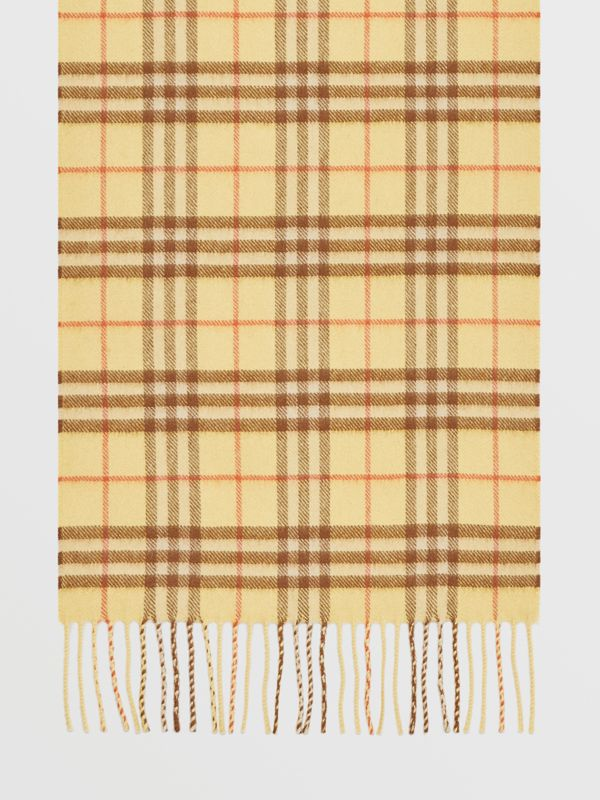 The Classic Vintage Check Cashmere Scarf in Pale Primrose | Burberry Australia - cell image 2