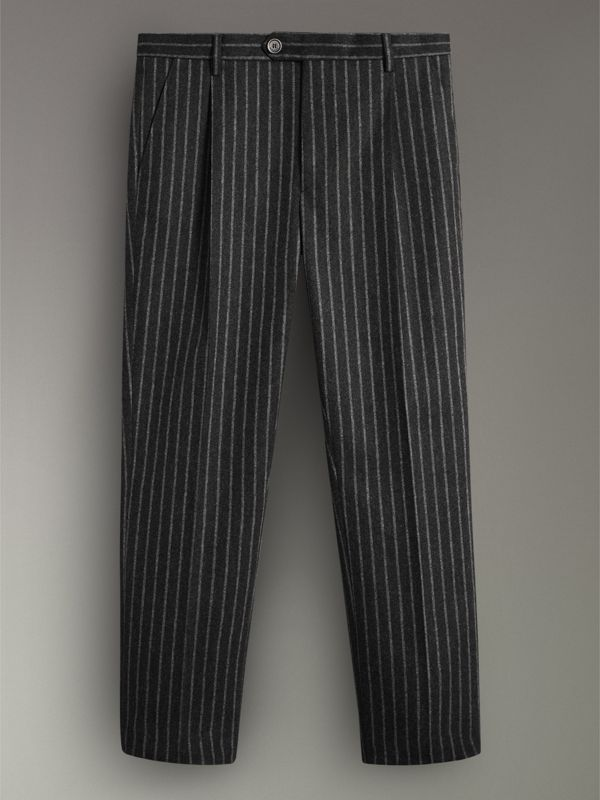 Pinstriped Wool Blend Twill Trousers in Dark Grey | Burberry - cell image 3