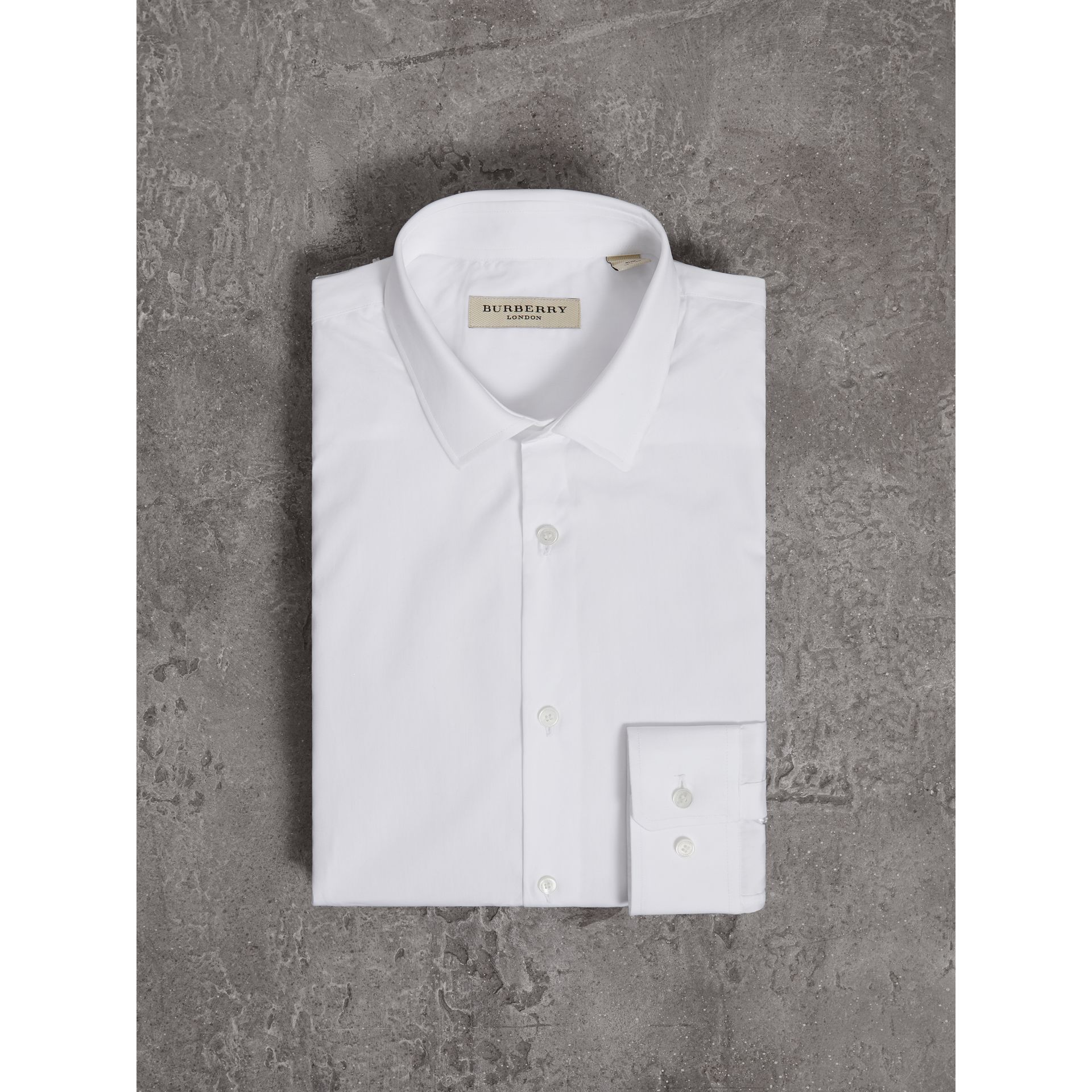 Slim Fit Cotton Poplin Shirt in White - Men | Burberry Australia - gallery image 4