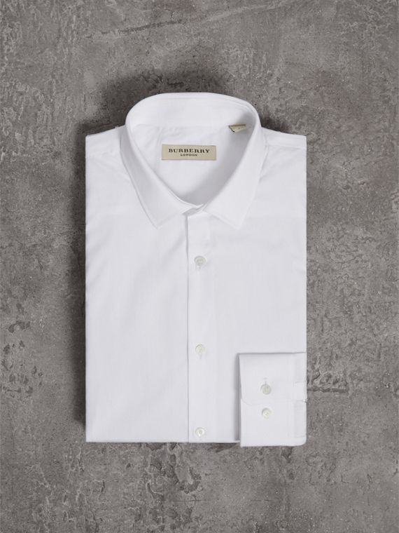 Slim Fit Cotton Poplin Shirt in White - Men | Burberry - cell image 3