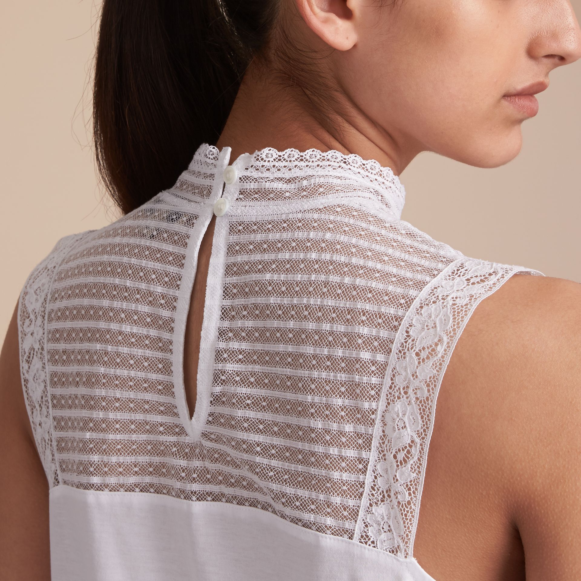 Sleeveless Lace Panel Cotton Top in White - Women | Burberry Canada - gallery image 6