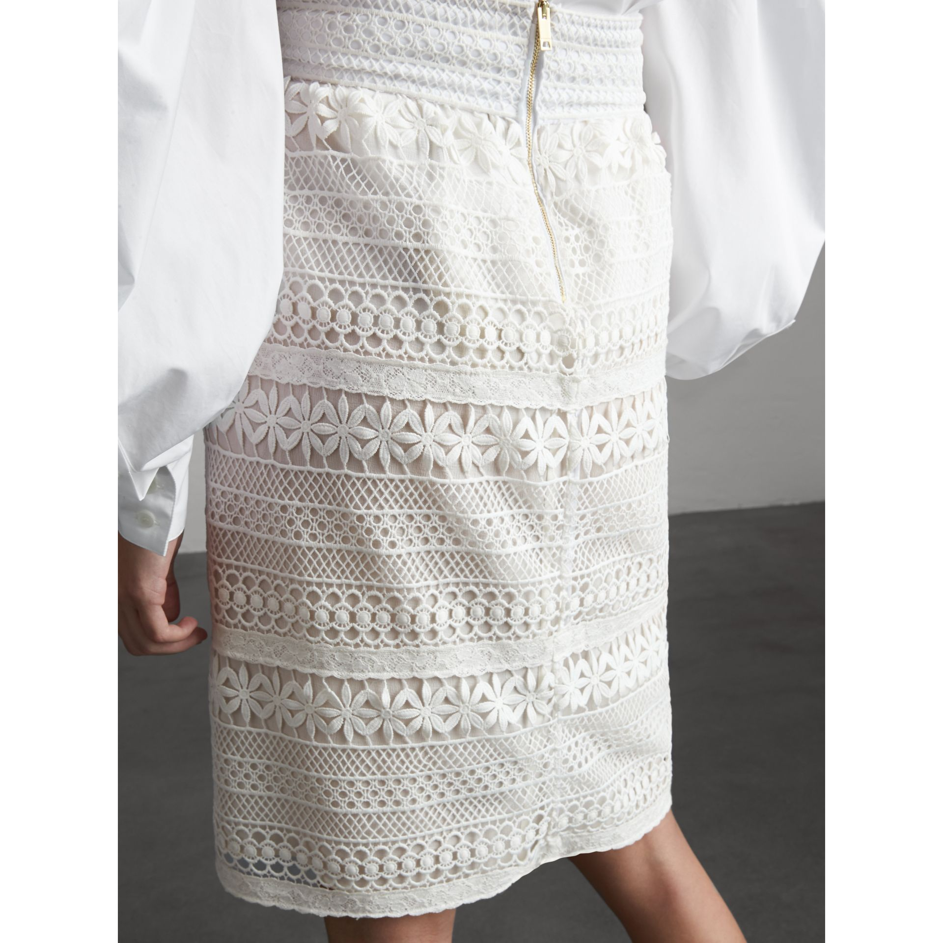 Macramé Lace Skirt in White - Women | Burberry - gallery image 3