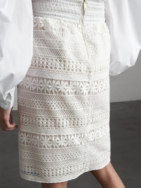 Macramé Lace Skirt in White - Women | Burberry - cell image 2