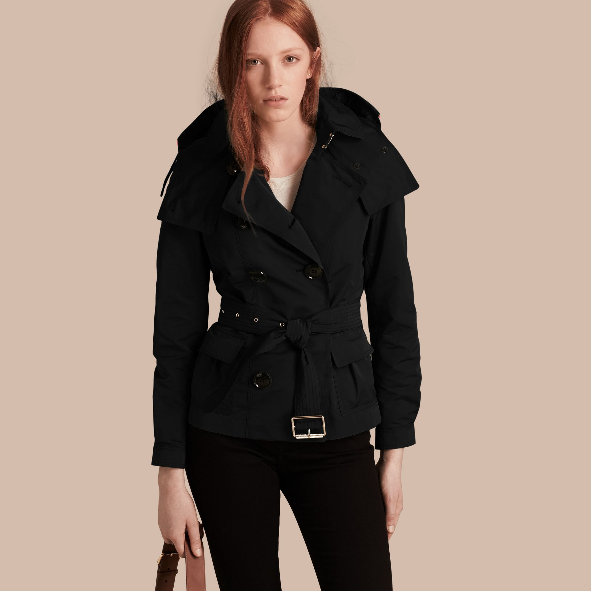 Showerproof Taffeta Trench Jacket with Detachable Hood in Black - gallery image 1