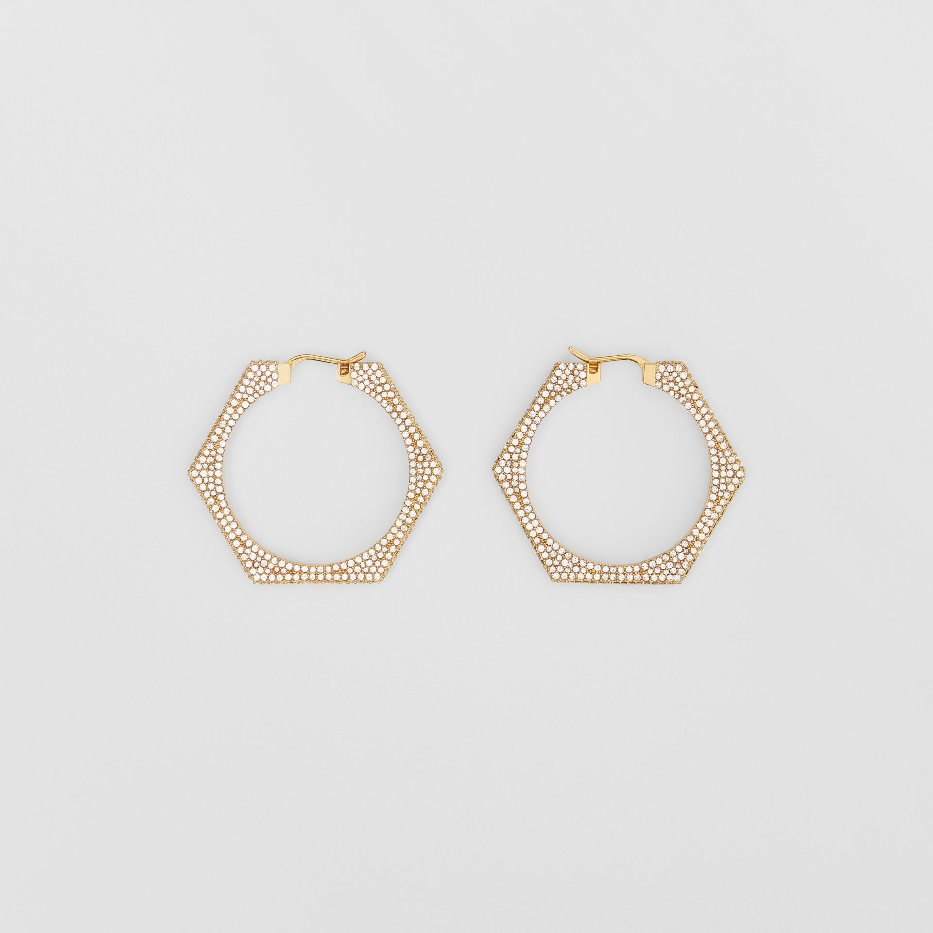 Crystal Detail Gold-plated Nut Hoop Earrings in Light Gold/crystal - Women   Burberry United Kingdom - gallery image 0