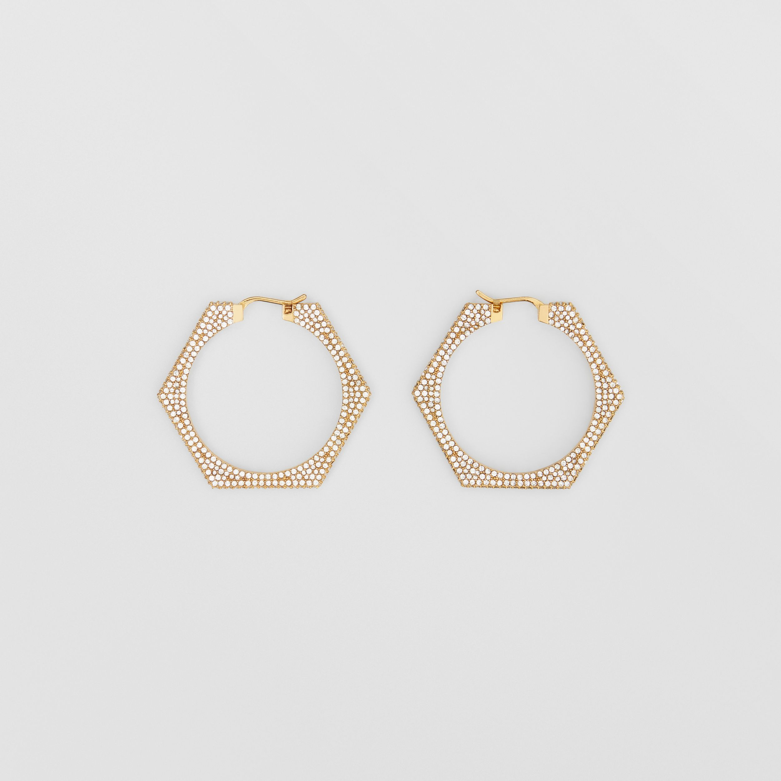 Crystal Detail Gold-plated Nut Hoop Earrings in Light Gold/crystal - Women | Burberry Singapore - 1