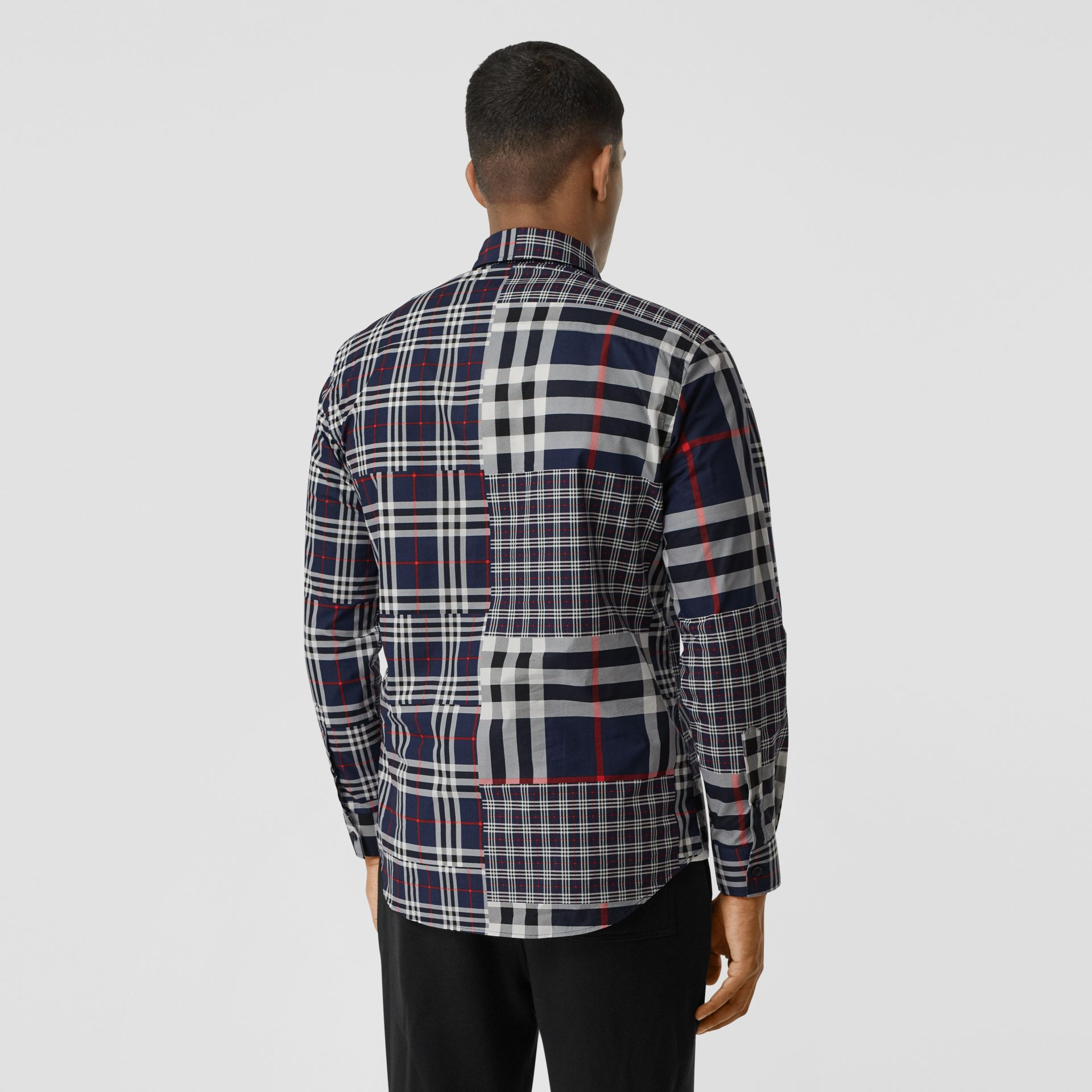 Classic Fit Patchwork Check Cotton Shirt in Navy - Men | Burberry - gallery image 2