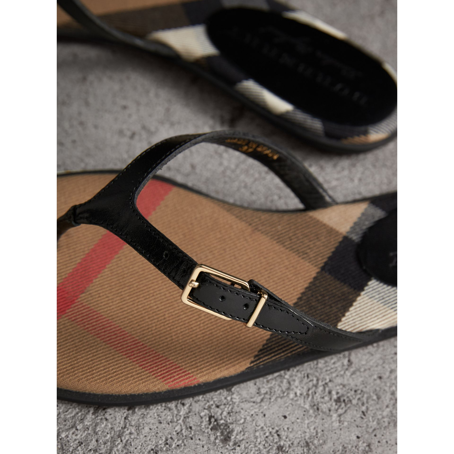 House Check and Patent Leather Sandals in Black - Women | Burberry - gallery image 2