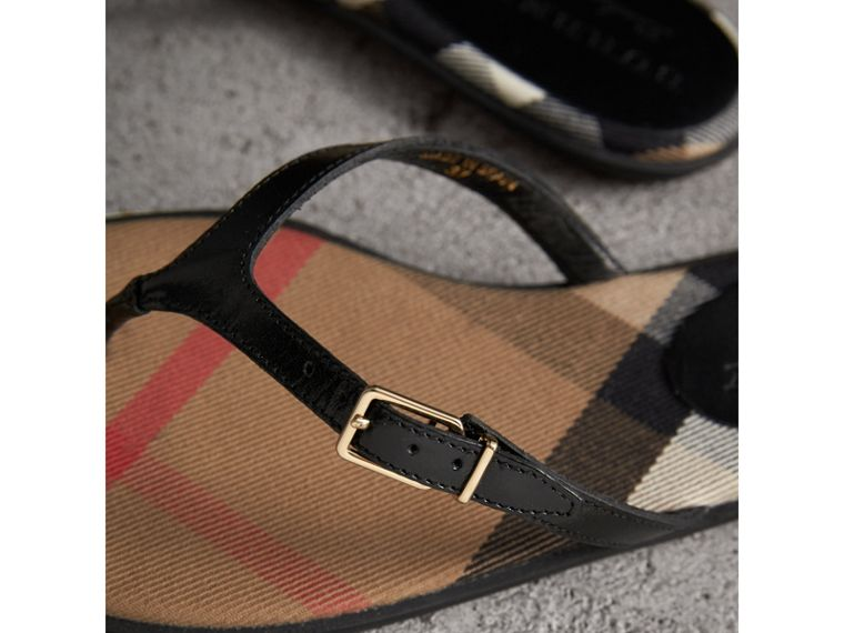House Check and Patent Leather Sandals in Black - Women | Burberry - cell image 1