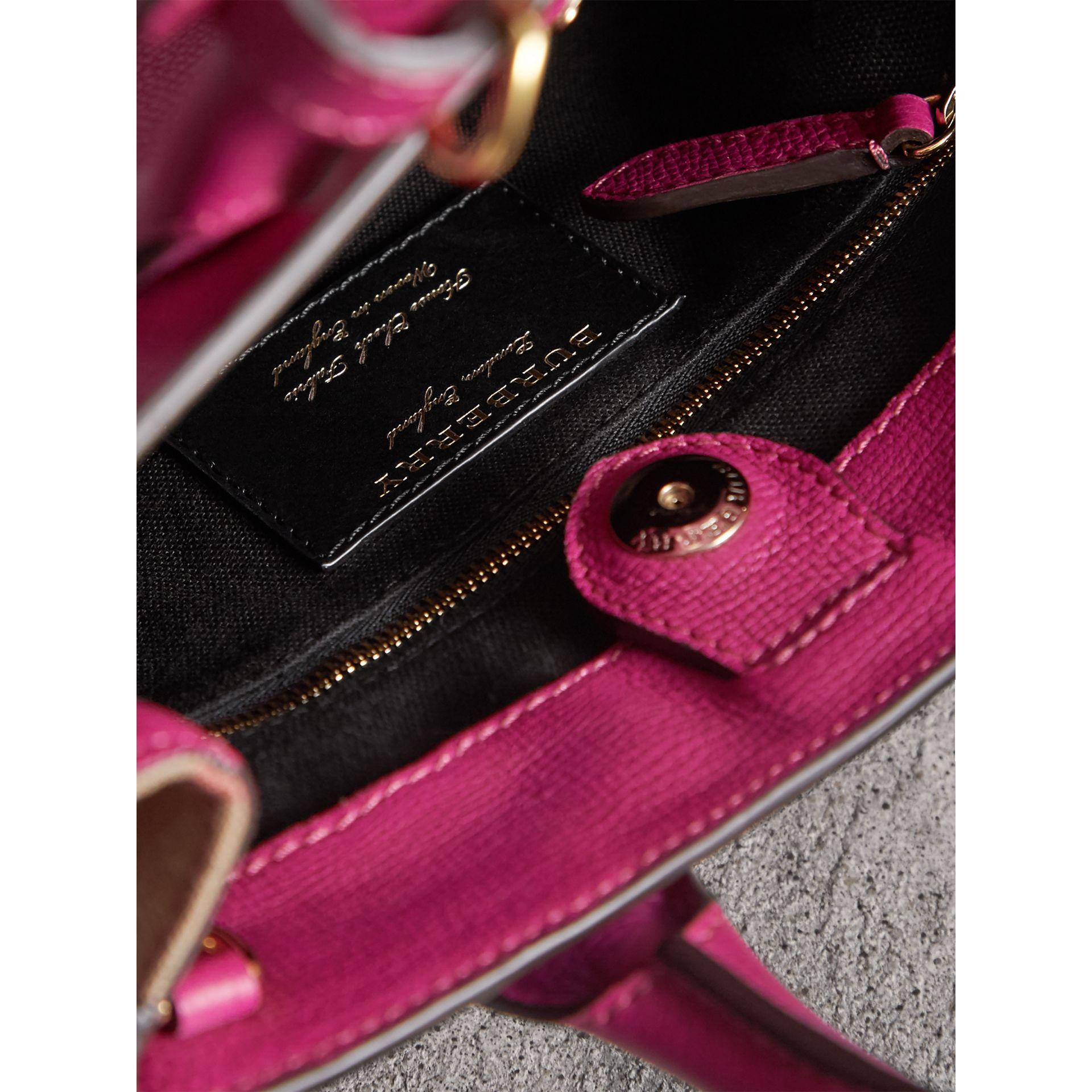 The Small Banner in Leather and House Check in Brilliant Fuchsia - Women | Burberry - gallery image 5