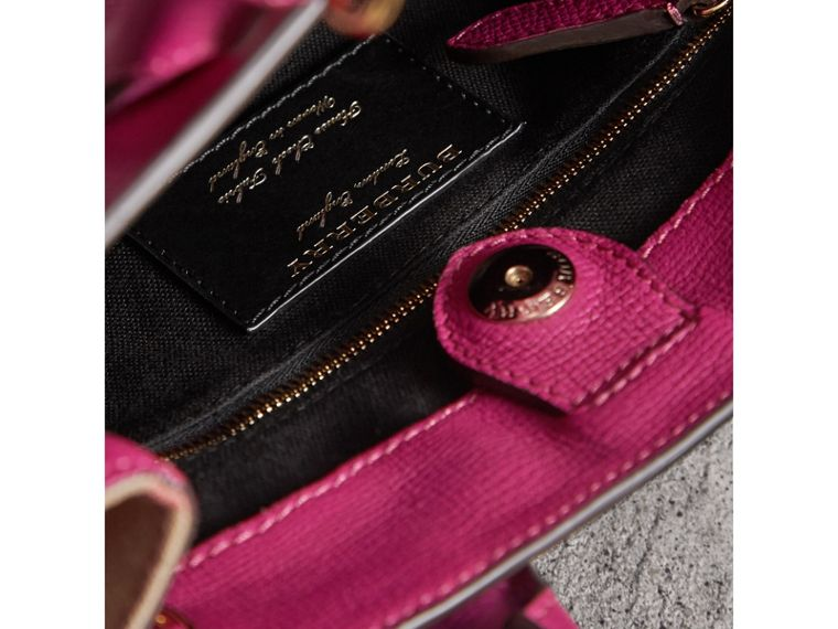 The Small Banner in Leather and House Check in Brilliant Fuchsia - Women | Burberry - cell image 4