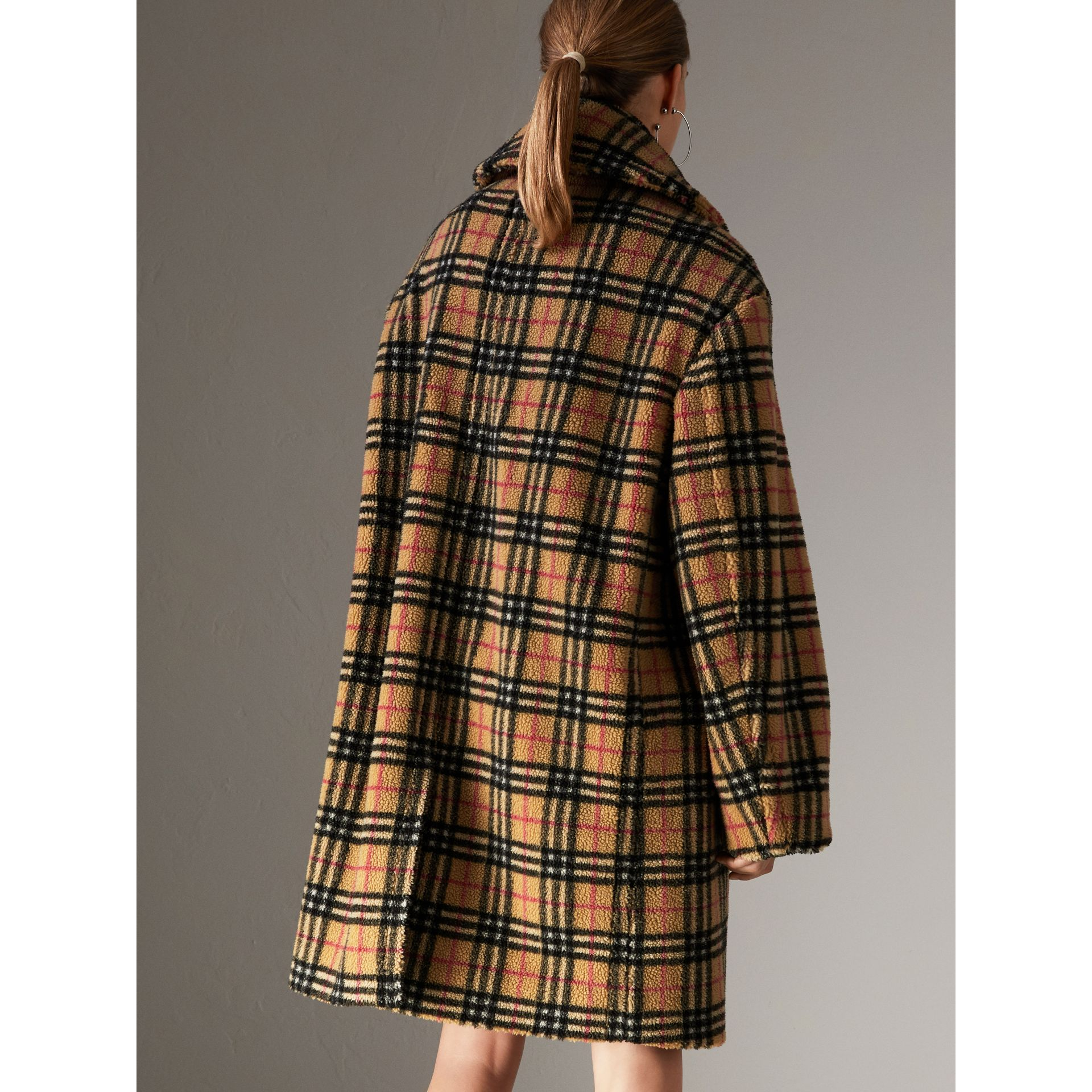 Vintage Check Faux Shearling Coat in Antique Yellow - Women | Burberry - gallery image 2