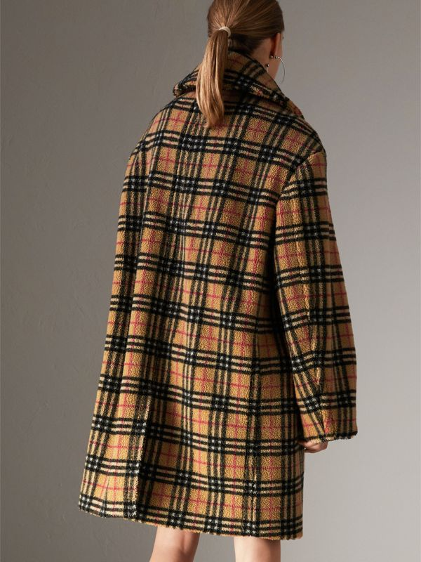 Vintage Check Faux Shearling Coat in Antique Yellow - Women | Burberry - cell image 2