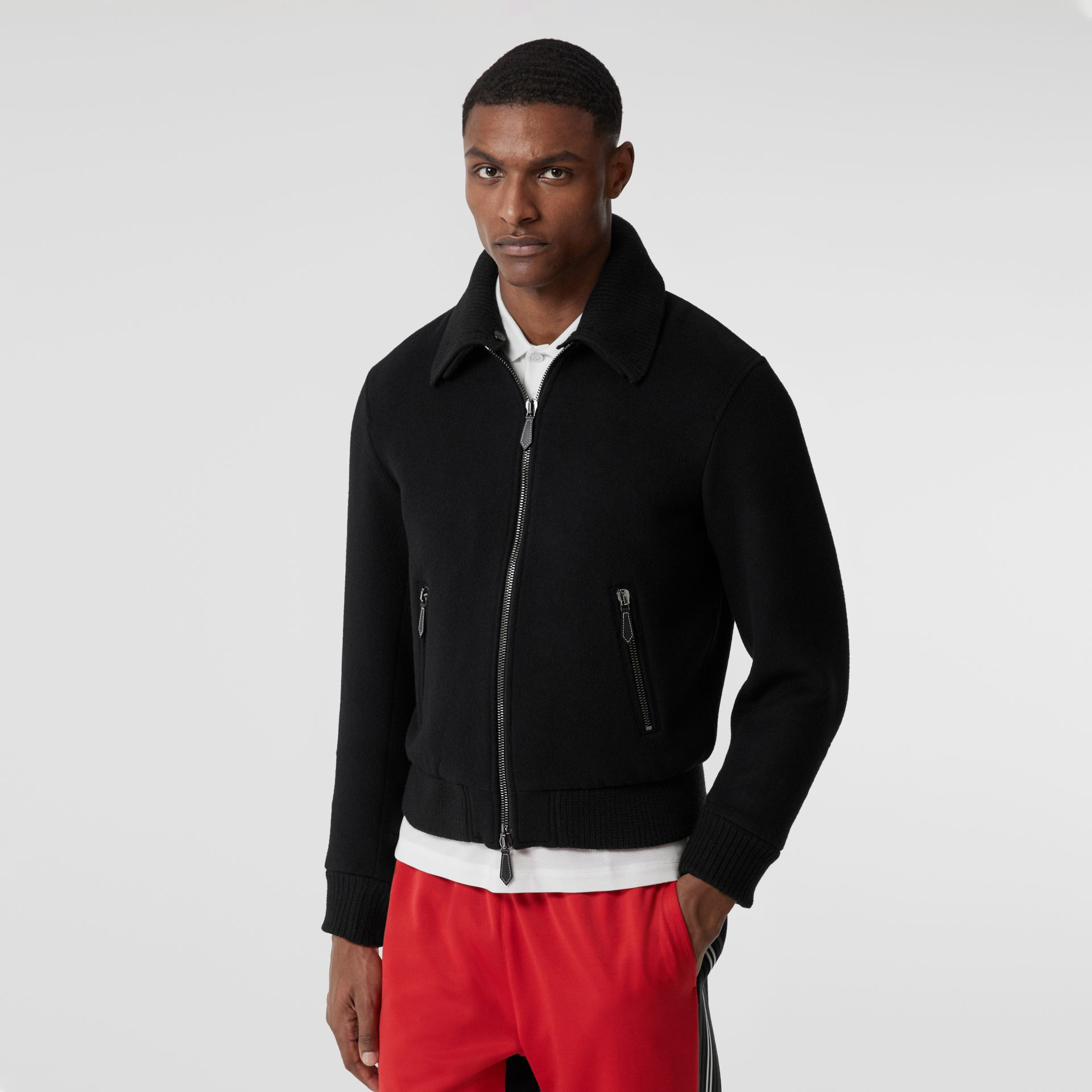 Detachable Knit Collar Wool Cashmere Bomber Jacket in Black - Men | Burberry - gallery image 5