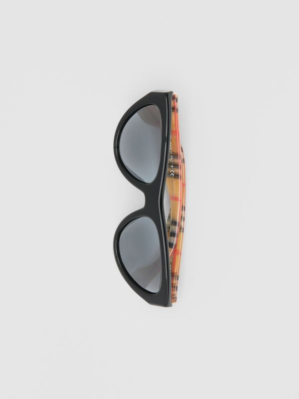 Vintage Check Detail Triangular Frame Sunglasses in Antique Yellow - Women | Burberry - cell image 3