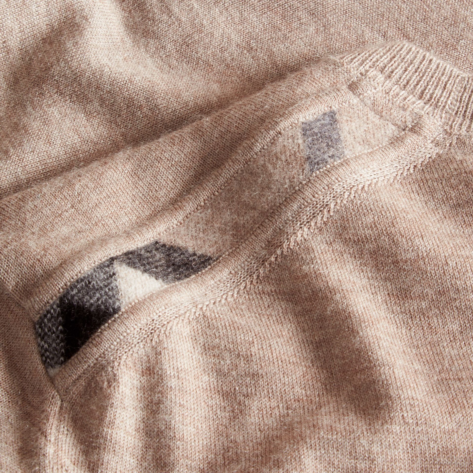 Lightweight Crew Neck Cashmere Sweater with Check Trim in Camel Melange - Men | Burberry - gallery image 2