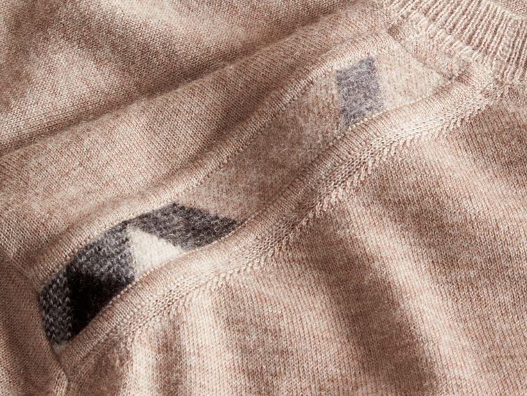 Lightweight Crew Neck Cashmere Sweater with Check Trim in Camel Melange - cell image 1