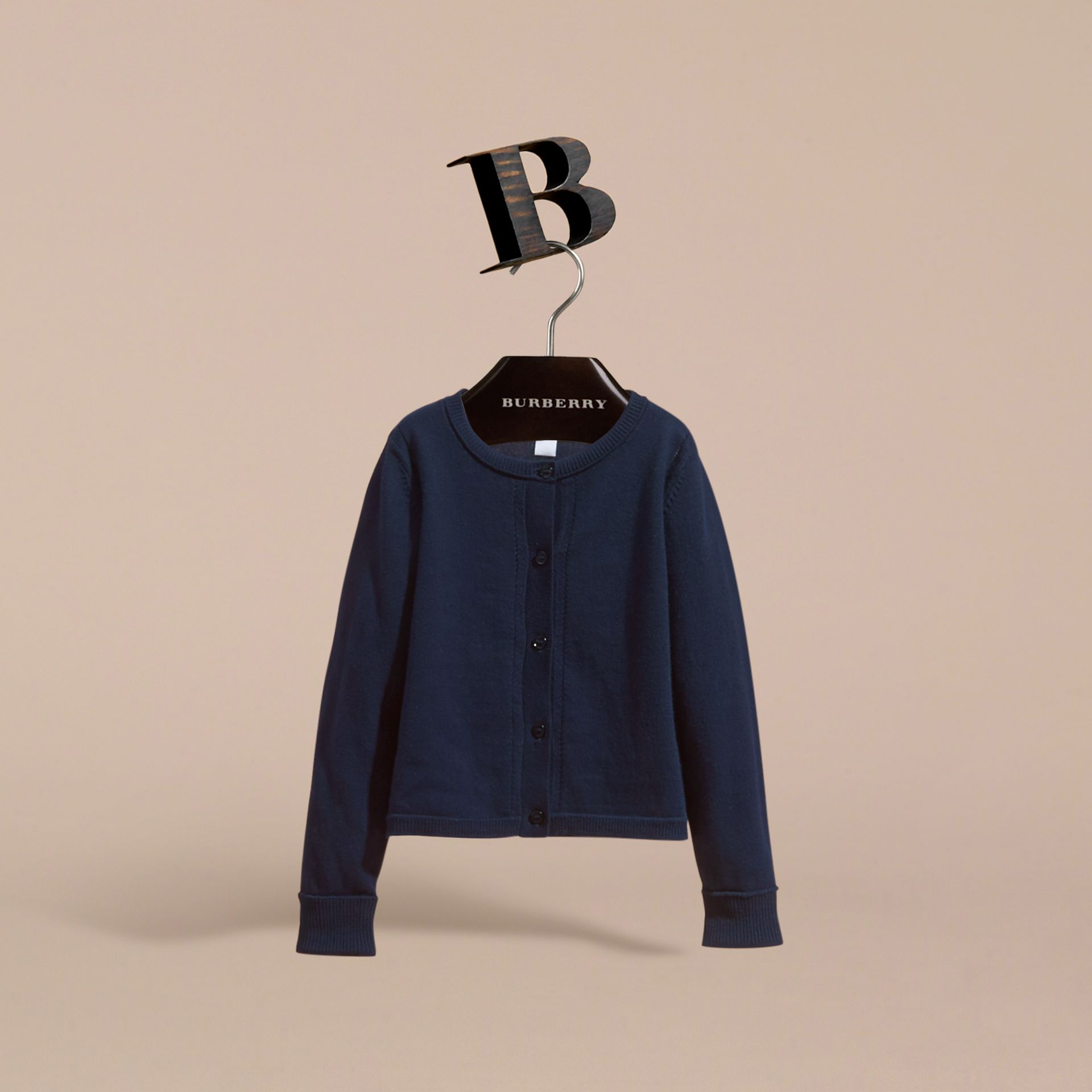Check Cuff Cotton Knit Cardigan in Navy - Girl | Burberry - gallery image 3